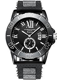 Anthony James Édition limitée empereur pour homme Sports montre bracelet avec Garantie à Vie, boîtier en métal, Noir, et bracelet en caoutchouc durable