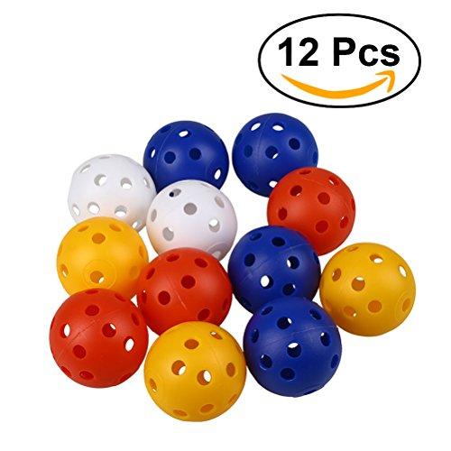 12 Stück Golf Übungsbälle TOYMYTOY Airflow Golfbälle (Mischfarben)