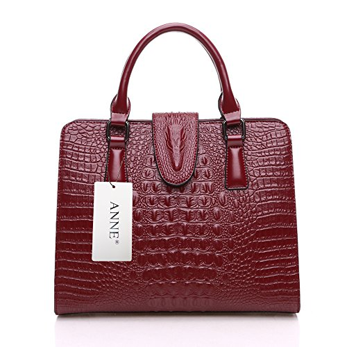 ANNE Borse in pelle in ottone a motivo coccodrillo Red Wine