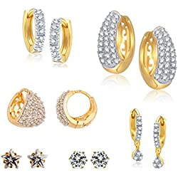 Archi Collection Jewellery Combo of Gold Plated Fancy Party Wear American Diamond Hoop Earrings for Girls and Women