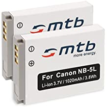 2x Batería NB-5L para Canon PowerShot SX200IS, SX210IS, SX220HS, SX230HS. ver lista.