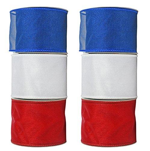 Draht Rolle Bänder.-6,3cm x3yds Pro Rolle-Atemberaubende Patriotische Farben, die sind perfekt für Geschenkverpackungen, Dekorationen und mehr. 6 mesh ()
