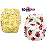 Fig-O-Honey Reusable New Born Baby Cloth Diapers   Multi-Color Baby Fabric Nappy With Free Absorbent Inserts   Washable And Elastic Printed Modern Cloth Nappies With Insert Liners   ( Ladybug & Emoji Print Combo )