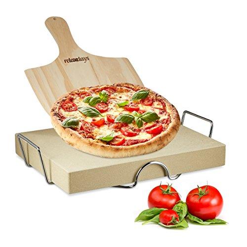 Relaxdays Pizzastein Set 5 cm Stärke mit Metallhalter und Pizzaschieber aus Holz HBT 7 x 43 x 31,5 cm rechteckiger Brotbackstein für Pizza und Flammkuchen mit Pizzaschaufel für Pizzaofen, - Halter Holz Brot