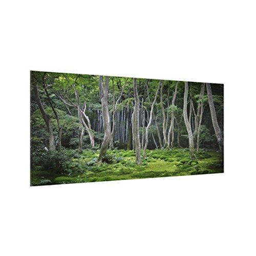 Bilderwelten Panel antisalpicaduras de cristal - Japanese Forest - Horizontal 1:2, panel antisalpicaduras panel de vidrio para cocina panel protector contra salpicaduras, Tamaño: 40cm x 80cm