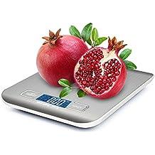 Báscula Digital para Cocina, ikalula Balanza de cocina digital 5 kg máximo peso (alta precisión a hasta 1 G), función de tara, y gran pantalla LCD, incluye batería.