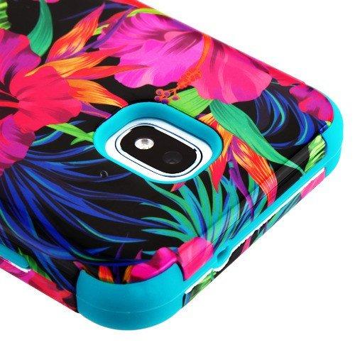 Für Samsung Galaxy J32018, Amp Prime 3, Express Prime 3, J3Star, J3erreichen, J3V J3V 3. Gen. Case phonelicious Military Grade stoßfest Hybrid Rugged Handy Zubehör Phone Cover, Tropical Leaves - Att Handys Unlocked