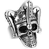 Jewelrywe Gioielli Anello da Uomo, Anelli, Gotico Joker Cranio Teschio, Acciaio Inossidabile, Nero Argento (con Borsa Regalo)