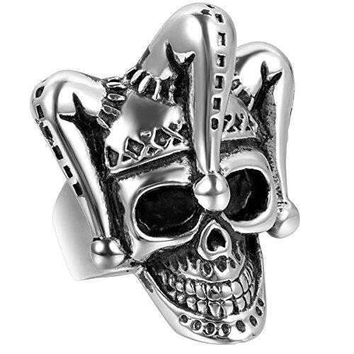 JewelryWe Schmuck Biker Herren-Ring, Edelstahl, Gotik Clown Totenkopf Schädel, Schwarz Silber -...