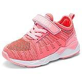 Kyopp Laufschuhe Kinder Turnschuhe für Mädchen Jungen Sportschuhe Kinderschuhe Outdoor Sneakers Klettverschluss Atmungsaktiv Unisex(6#Pink 32EU)