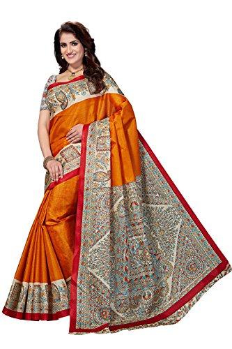 Rani Saahiba Women's Art Bhagalpuri Silk Madhubani Printed Saree ( Skr3267_Gold )