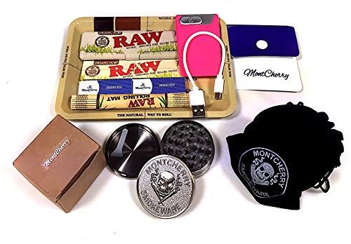 Set de regalo para fumador de la marca RAW con mini bandeja, bandeja orgánica, papeles y esterilla de bambú