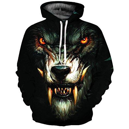 Rosennie Unisex 3D Druck Hoodies Kapuzenpullover Wolf Pullover Langarm Galaxy Hooded Sweatshirt Tops Blouse Kapuzenpulli Sweatshirt Kapuzenjacke Oversize Motiv Streetwear
