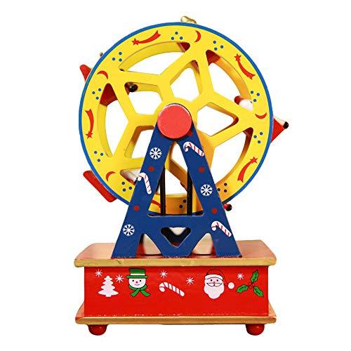 (TAOtTAO Kreative Weihnachten Hölzernes Spieluhrkarussell-Riesenrad Holz Spieluhr Geschenk Christmas Sleigh Desktop-Dekoration (E))