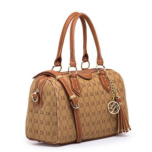 (GetThatBag) Lola Benson® Demi Damen Monogramm Barrel Tasche Bowlingtaschen Schultertasche (Inspirierte-tasche Geldbörse Designer)