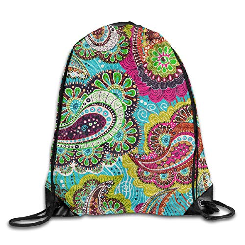ZHIZIQIU Drawstring Bag Simple Colorful Paisley Womens Gym Backpack Designer Mens Travel Canvas Bags for Girls Paisley Womens Sweatshirt