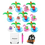 12 Stück aufblasbare Pool Getränkehalter Floß Set, Rosaflamingos, weiße Schwäne und Palmen mit Handpumpe und Kordelzug-Aufbewahrungstasche, Eigenartiges Design - für Pool-Party und Dekoration