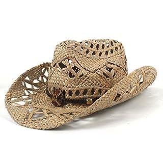 LIXUE AZV 100% natürliche Jazz Stroh Cowboy Hut Frauen Männer Handwork Weave Cowboy Hüte für Lady Dad (Farbe : Schwarz, Größe : 56-58cm)