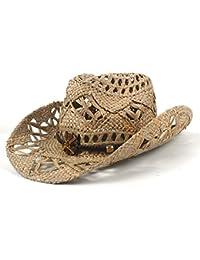 Gr 100% natürlicher Jazz-Stroh-Cowboy-Hut-Frauen-Mann-Handgemachte Webart-Cowboy-Hüte für Dame Vati (Color : Black, Größe : 56-58cm)