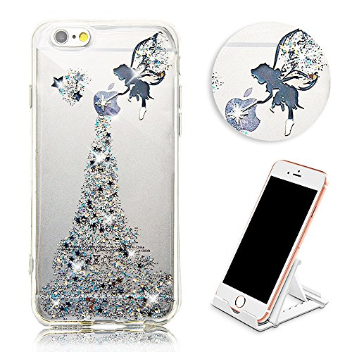 Cover Per iPhone 8 Plus / 7 Plus 5.5 Bling Glitter, Custodia Design Emoticon multicolore Trasparente Plastica Con Sabbia Mobili Blu Brillanti ,Vandot Shell 3D Quicksand Case Con Stella Fluente Liquid angel 04