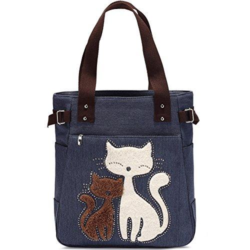 Bolso de hombro de las mujeres con el bolso de compras lindo del ocio de la lona del gato por KAUKKO (Azul)