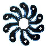 Czoele Set di 10 Golf Stampa Numero Copri Mazza Ferri con Cerniera,Mazze da Golf Iron Headcovers (Blu)