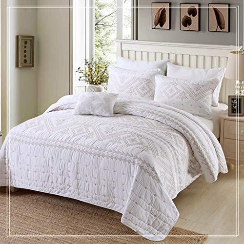 Mkulxina Einfache und Schlichte Baumwolle Bestickt Bettbezug aus Reiner Baumwolle Sommer Klimaanlage Quilt Bett DREI Sätze (Color : White, Size : Queen) (White Queen-size-betten)