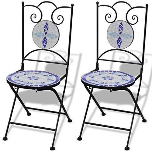 Mosaik Bistro Stuhl (Shengtaieushop Mosaik Bistro Stuhl blau weiß Garten Set Stühle 2Stück)