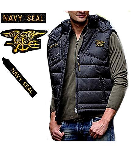 Gen.con. gilet militare americano navy seals, giubbotto smanicato marina usa, nero