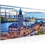Runa Art Bilder Hamburg Wandbild Vlies - Leinwand Bild XXL Format Wandbilder Wohnzimmer Wohnung Deko Kunstdrucke Blau 1 Teilig - Made in Germany - Fertig Zum Aufhängen 603012a