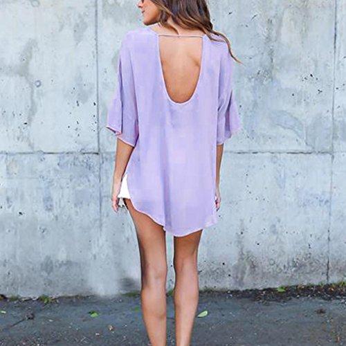 Manadlian Shirt Femmes, Femmes Sexy V-Neck Chiffon Grande Taille Manches Blousons Chemises Violet