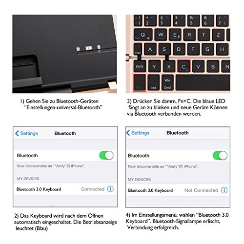 Faltbar Bluetooth Tastatur, iEGrow F18 Universal Tragbar Bluetooth 3.0 Kabellose Tastatur mit Ständerhalter für Apple iPad iPhone 7 Plus IOS, Andriod Windows Smartphone Tabletten Gold [QWERTZ deutsches Tastaturlayout] - 6