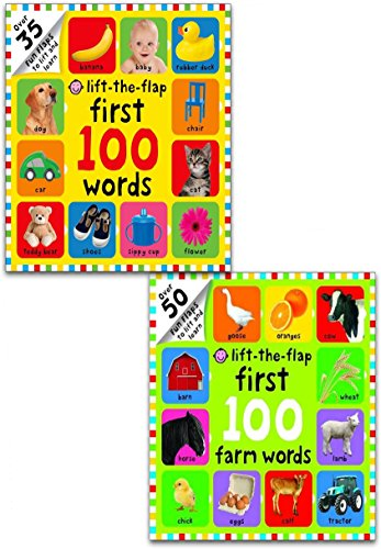 First 100 Lift-the Flap 2 Books Collection Set by Roger Priddy (First 100 Words, First 100 Farm Words)
