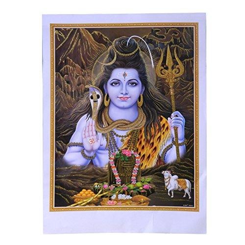 Bild Shiva 50 x 70 cm Gottheit Hinduismus Kunstdruck Plakat Poster Gold Indien Hochglanz Dekoration (Shiva-bild)