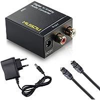 Musou Convertisseur Numérique-Analogique Audio Adaptateur avec Câble Audio Optique | DAC Toslink Coaxial Optique vers RCA L/R Audio Stéréo pour PS3 XBox HD DVD PS4 Sky HD Plasma Blu-ray Home Cinéma Amplificateurs AV