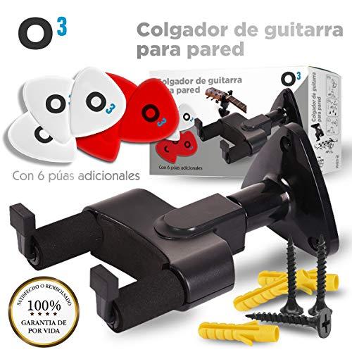 O³ Colgador Guitarra Pared + 6 Púas | Soporte Guitarra Pared +...
