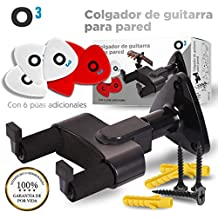 O³ Colgador Guitarra Pared + 6 Púas   Soporte Guitarra Pared + Set De Instalar   Soporte Para Guitarra Pared Sirve Para Todo Tipo de Guitarra y Otros ...