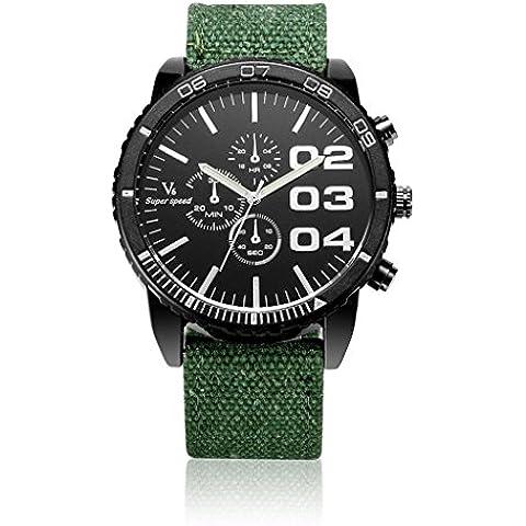 pkaty da uomo Sport Militare Cinturino in Tela Big quadrante analogico al quarzo watches-green