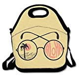 Pzeband Lunch Tote Bag, Byo Lunch Bags, Freezable Jansport Lunch Bags for Men Women, Funny Glasses Aloha Beach Style