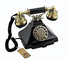 GPO Duke - Téléphone vintage à bouton poussoir - Cordon en tissu, son de cloche authentique - noir et bronze
