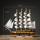 Statue,Scultura Decorazione casa Navigazione Normale Barca a Vela Modello Decorazione Bar Artigianato-C 17 Pollice
