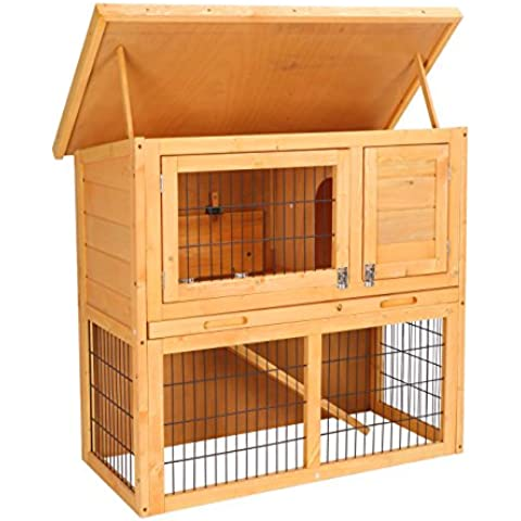 Hoddmimis Pet Supplies Wooden Backyard Chicken Coop Hen house Poultry Cage with Sloped Roof … - Clean Guinea Pigs Gabbia