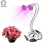 lzndeal 60W Dual Head LED Grow Lamp Light Desk Clip Flexible Gooseneck Full Spectrum for Indoor Plants