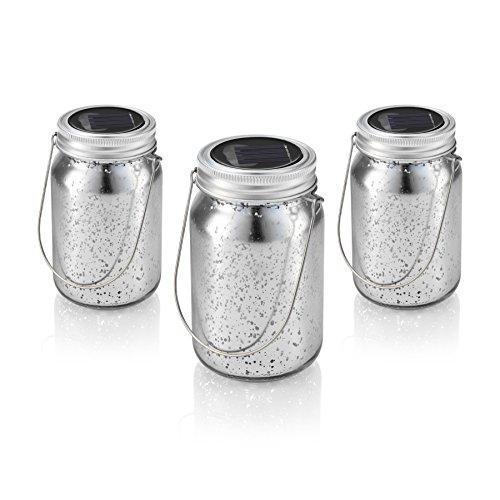 solalux set da 3 barattoli solari in vetro giardino esterno luci a sospensione lanterne led - bianco caldo