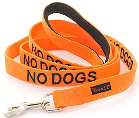 NO DOGS (Not Good With Other Dogs) Orange Warning Dog Colour Coded Luxury Padded Personalised 1.2m 4ft Lead Leash To Prevent Accidents or Incidents. Dog LIFETIME GUARANTEE. Award
