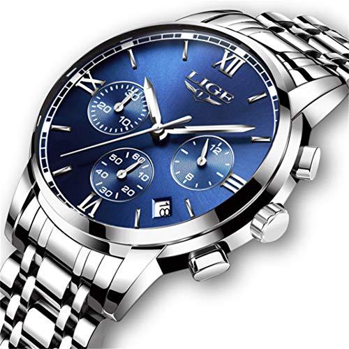 Herrenuhr Wasserdicht Edelstahl Analog Quarzuhren Geschäft Datumskalender Chronograph Luxusmarke LIGE Mode lässig Silber Stahlbanduhr