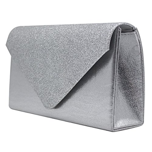 Sasairy Damen Elegant Clutch Abendtasche mit Abnehmbar Kette Handtasche für Abend/Hochzeit Umhaengetasche,Silber Silber