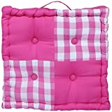 Home Pluss Cotton 1 Piece Floor Cushion - 16'' x 16'', Block Check Pink