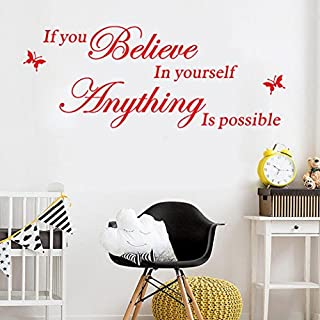SMILEQ Quote Wall Stickers Believe In Yourself Removable Art Vinyl Mural Home Decal Room Decor (Red)