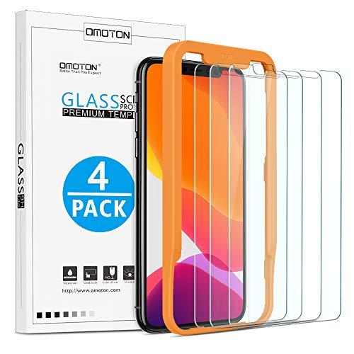 OMOTON [Lot de 4 ] Verre Trempé pour iPhone 11 Pro/ X/ XS Film Protection Ecran [Kit Installation Offert] Film Protecteur iPhone X 2019/2017/2018,[ 5.8 Pouces, 9H Dureté, sans Bulles]